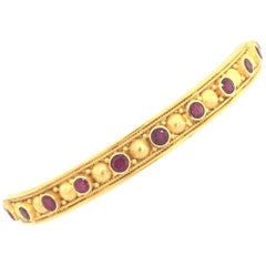 Carolyn Tyler Yellow Gold and Ruby Bangle Bracelet