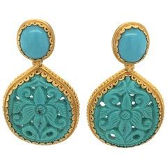 Carolyn Tyler Yellow Gold and Turquoise Dangle Drop Earrings