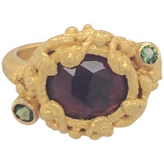 Carolyn Tyler Yellow Gold Pink and Green Tourmaline Faerie Ring