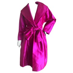 Carolyne Roehm Bergdorf Goodman Fuchsia Silk Faille Opera Coat or Dress w Belt