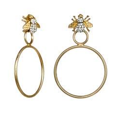 Carolyne Roehm x CINER Crystal Bee Hoop Earring