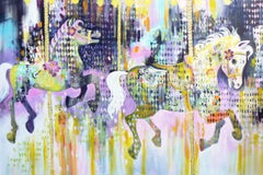 The gallopers (large expressive contemporary, Painting, Acrylic on Canvas