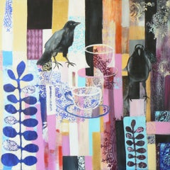 Two for tea (jackdaws, birds, crows, ravens, tea, Painting, Acrylic on Canvas