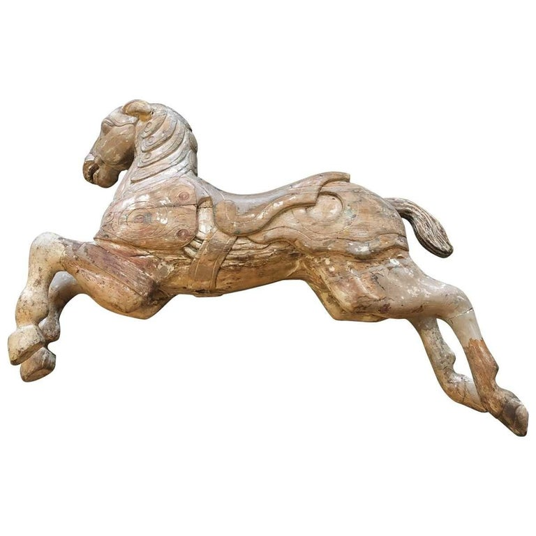 Carousel Wood Hand Carved Horse Early 20th Century on Wall Brass Base For Sale 7