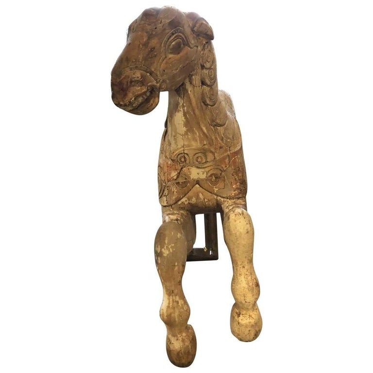 Carousel Wood Hand Carved Horse Early 20th Century on Wall Brass Base For Sale 8