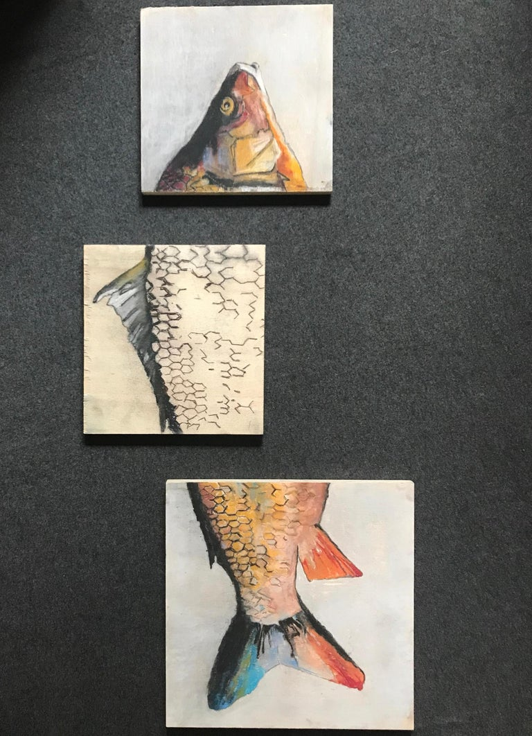 Carpe Diem fish painting. Contemporary triptych gesso painting on three raw wood panels in pale red yellow white and ochre on pale marine blue ground, Italy, 2019. Dimensions: 3 pieces composition 36