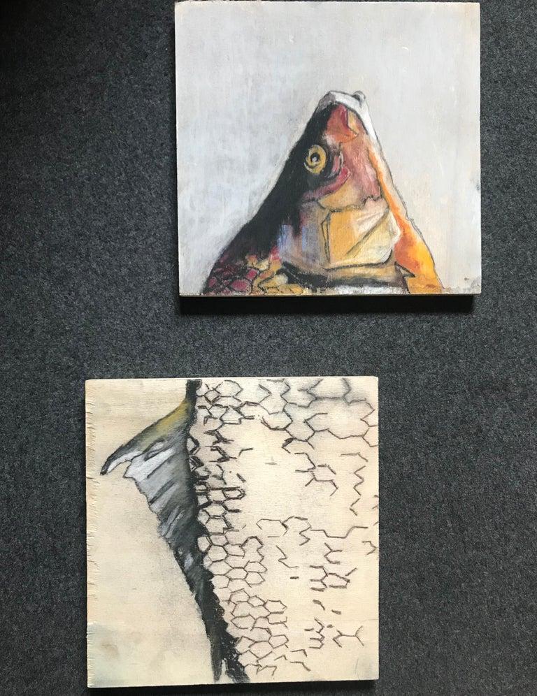 Gesso Carpe Diem Fish Painting For Sale