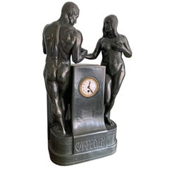 """Carpe Diem,"" Jugendstil Sculpture w/ Clock, Nude Adam & Eve Theme, 34 inches"