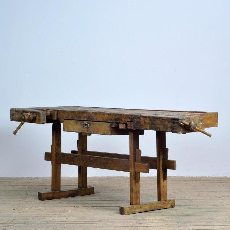 Industrial Carpenters Oak Workbench, circa 1900 For Sale