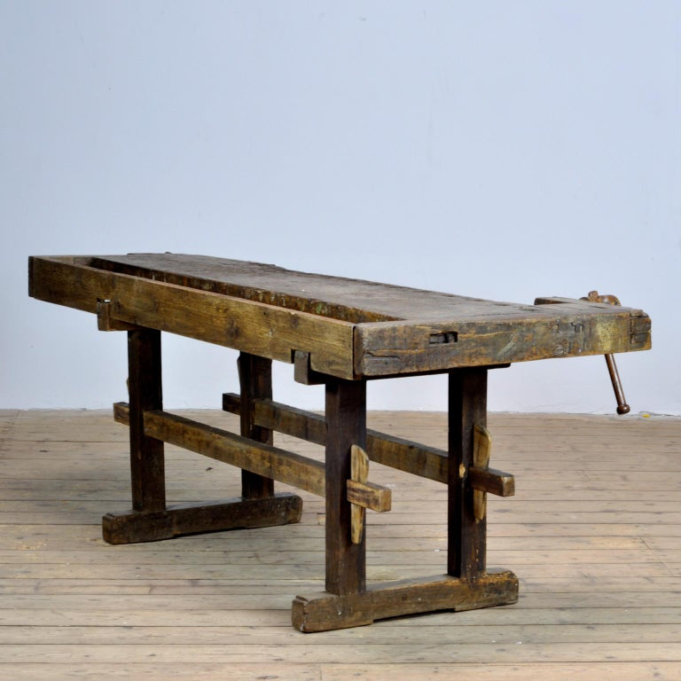 Industrial Carpenters Oak Workbench, circa 1900 For Sale