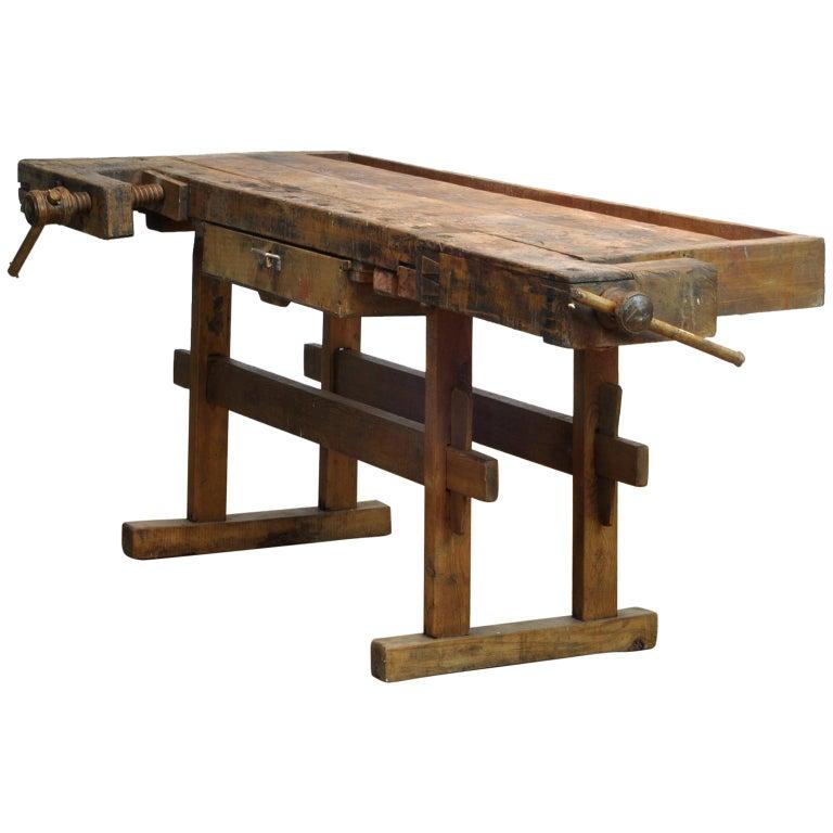 Carpenters Oak Workbench, circa 1900 For Sale