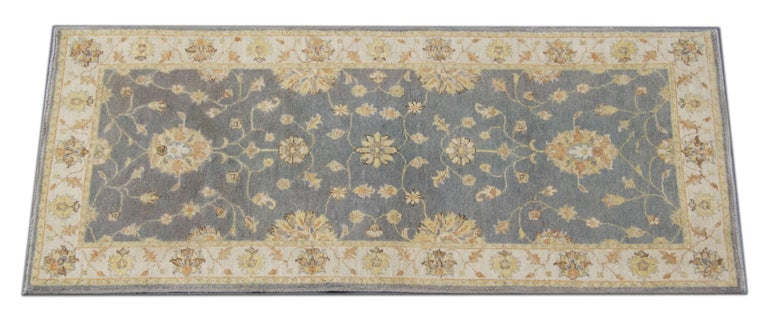 These new traditional handwoven runner rugs come from rug world in a striking color combination of navy, light blue, green blue, and cream. The pattern depicted on these natural fiber rugs has traditional rugs style and have influenced by the
