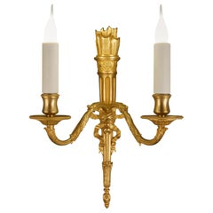 "24K Gilded Bronze ""Carquois"" Louis XVI Sconce"