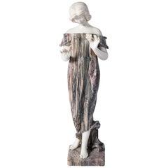 Carrara and Breccia Marble Sculpture, Signed L.C. Firenze, Italy, circa 1890