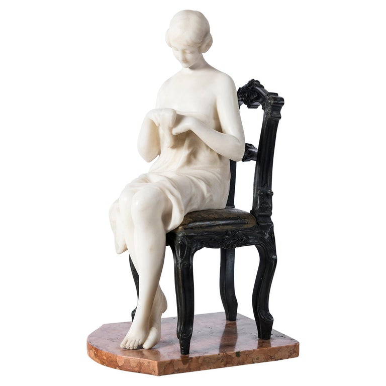 Carrara Marble and Bronze Sculpture, Art Deco Period, France, circa 1920 For Sale