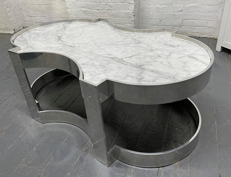 Modern Carrara Marble and Chrome Two-Tier Coffee Table For Sale
