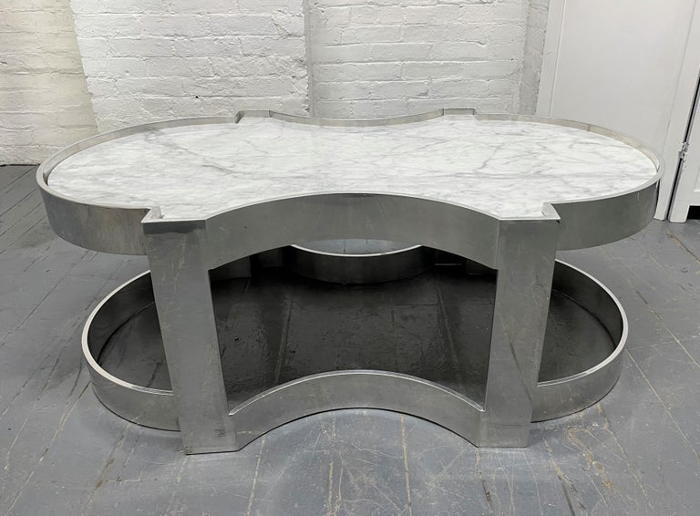 Carrara Marble and Chrome Two-Tier Coffee Table In Good Condition For Sale In New York, NY