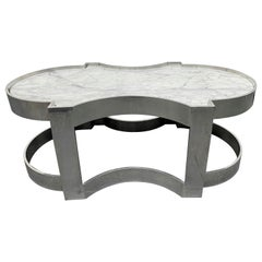 Carrara Marble and Chrome Two-Tier Coffee Table