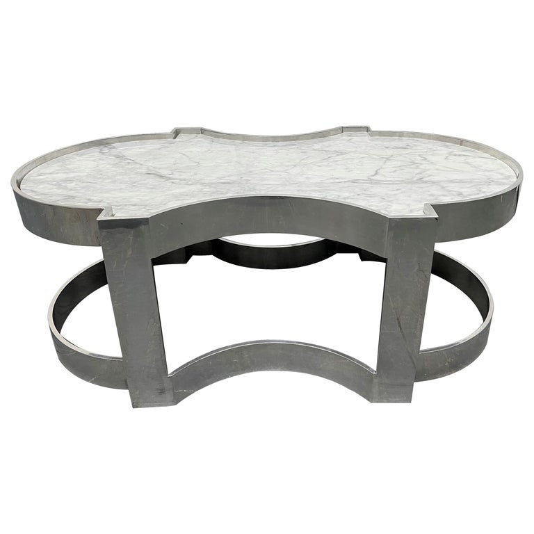 Carrara Marble and Chrome Two-Tier Coffee Table For Sale