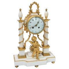 Carrara Marble and Gilt Bronze Table Clock, France, circa 1868