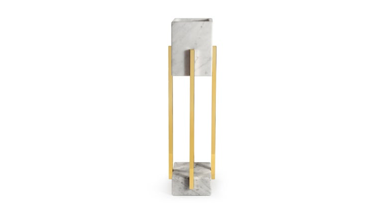 Block form Carrara marble shade and base table with polished brass details. Handcrafted. Various marble and brass or steel finishes are also available.