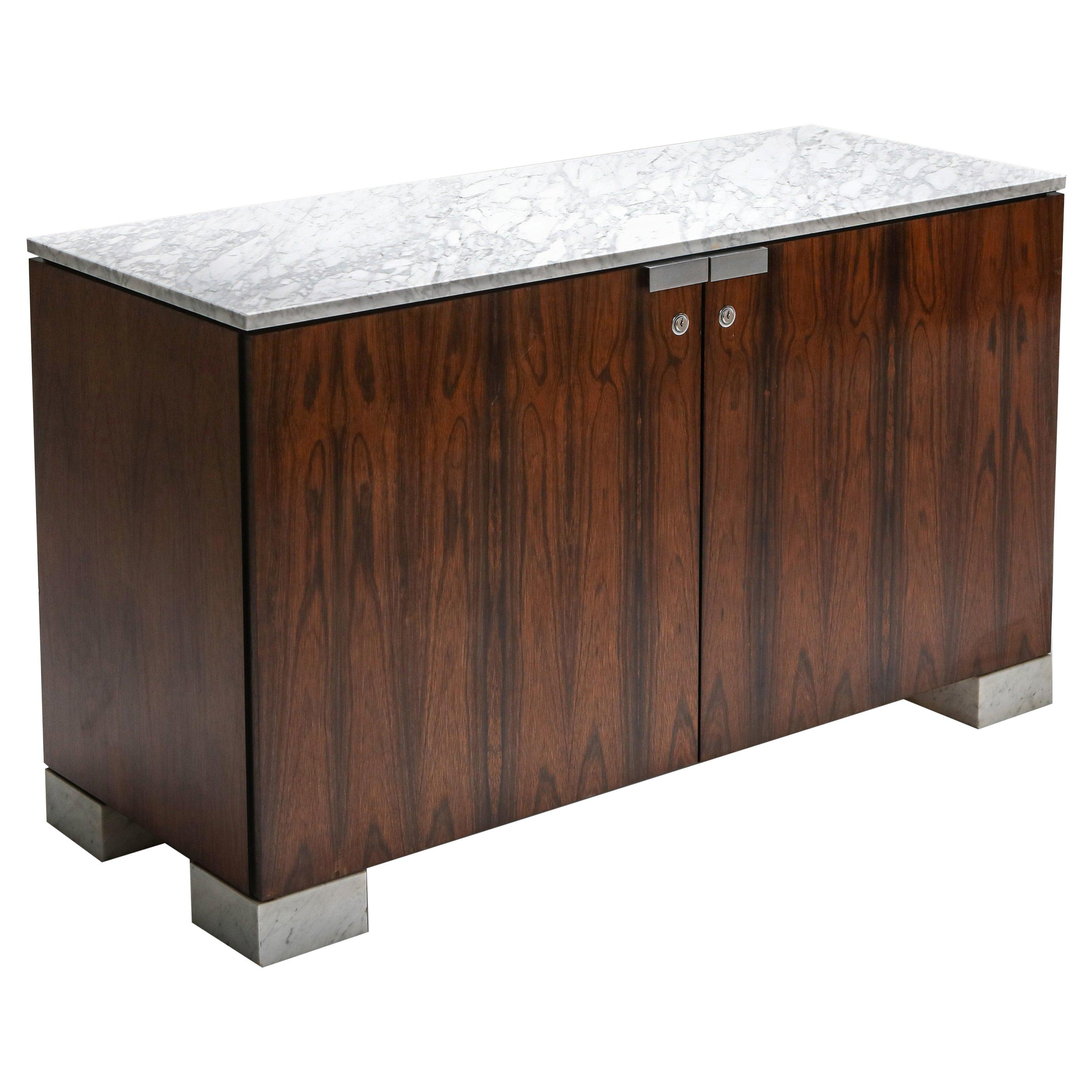 Carrara Marble and Rosewood Cabinet by Alfred Hendrickx