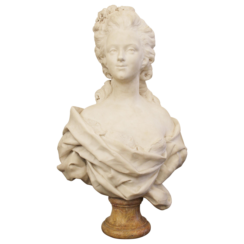 Carrara Marble Bust, France, Early 19th Century