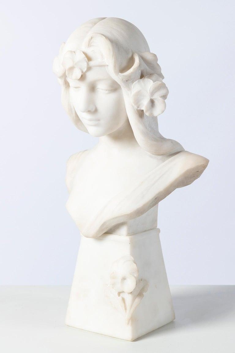 Carrara marble bust sculpture, signed C. Scheggi, Firenze, circa 1900. (Cesare Scheggi 1833-1876).