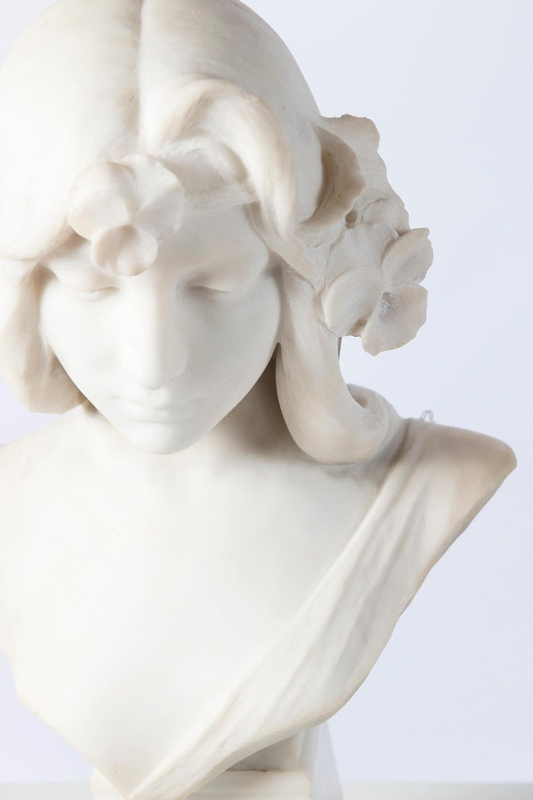Art Nouveau Carrara Marble Bust Sculpture, Signed C. Scheggi, Firenze, circa 1900 For Sale