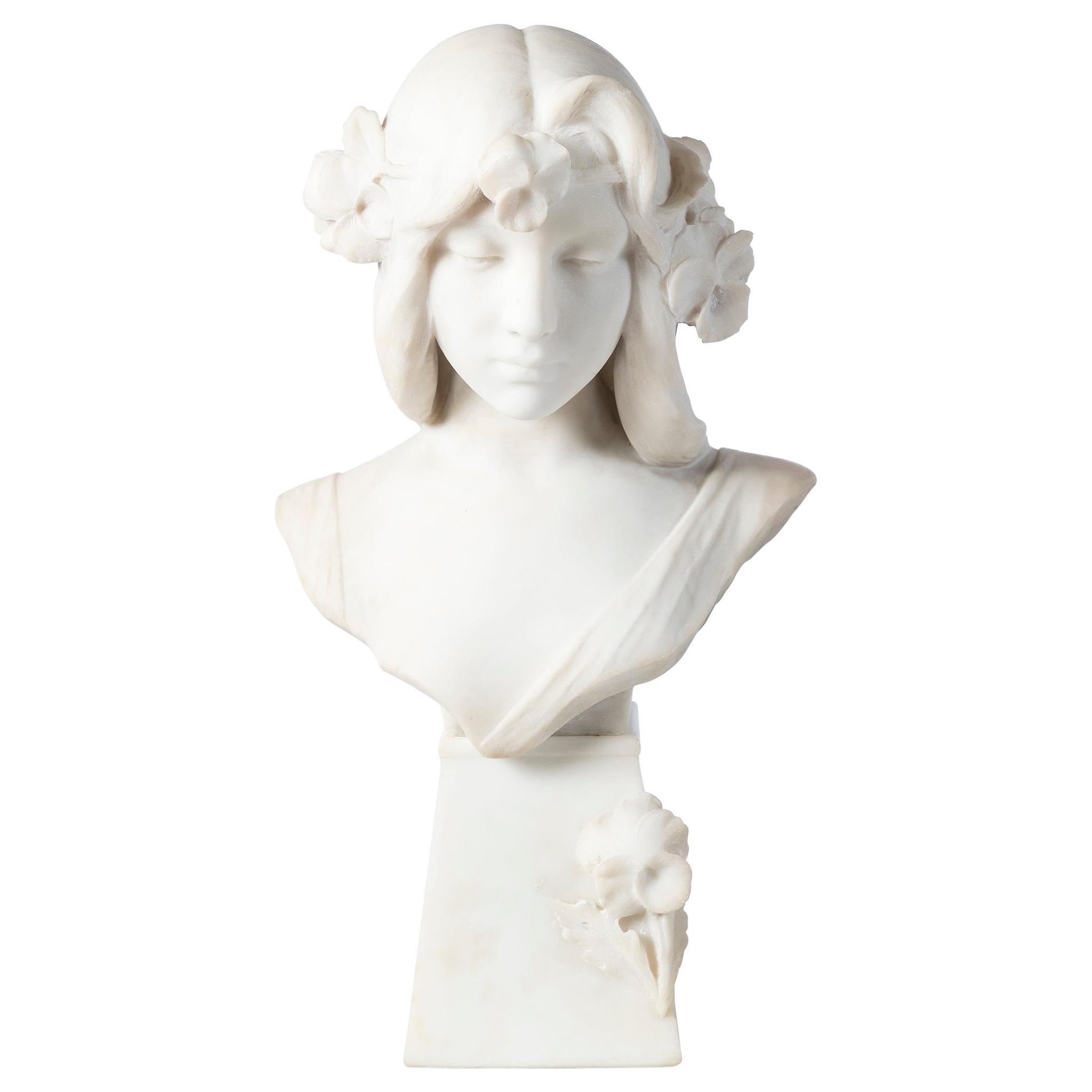 Carrara Marble Bust Sculpture, Signed C. Scheggi, Firenze, circa 1900