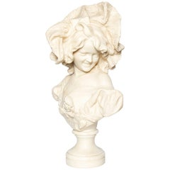 Carrara Marble Bust Signed P. Bazzanti, Italy, Florence, Late 19th Century