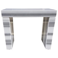 Carrara Marble Console or Fireplace Mantel
