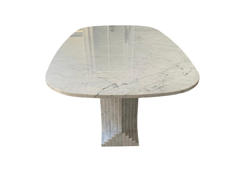 Italian Carrara Marble Dinning Table attributed to Carlo Scarpa, 1970s For Sale