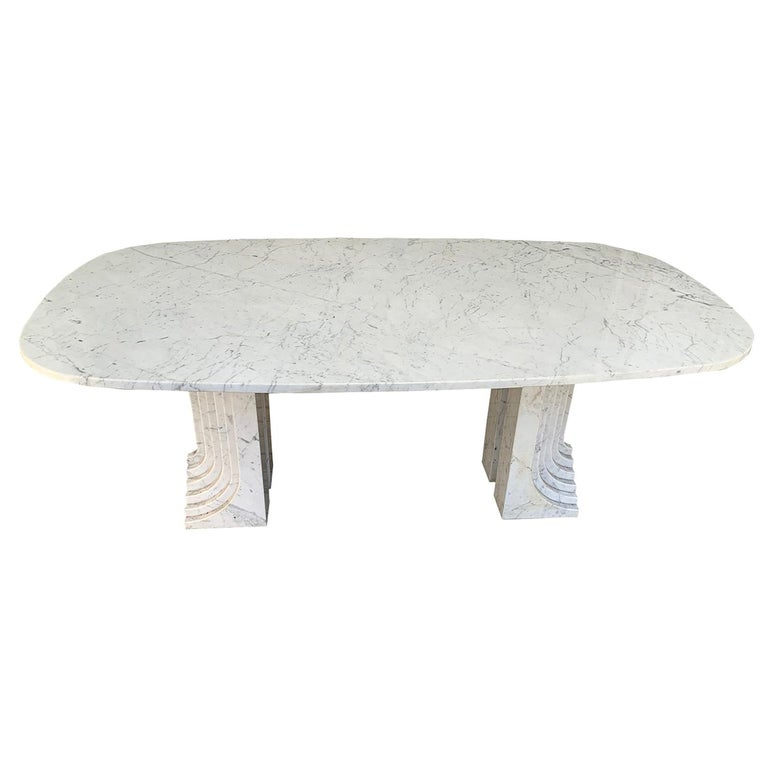Carrara Marble Dinning Table attributed to Carlo Scarpa, 1970s For Sale