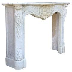 Carrara Marble Fireplace, Late 19th Century