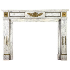 Carrara Marble French Antique Fireplace Surround in the Style of Louis XVI