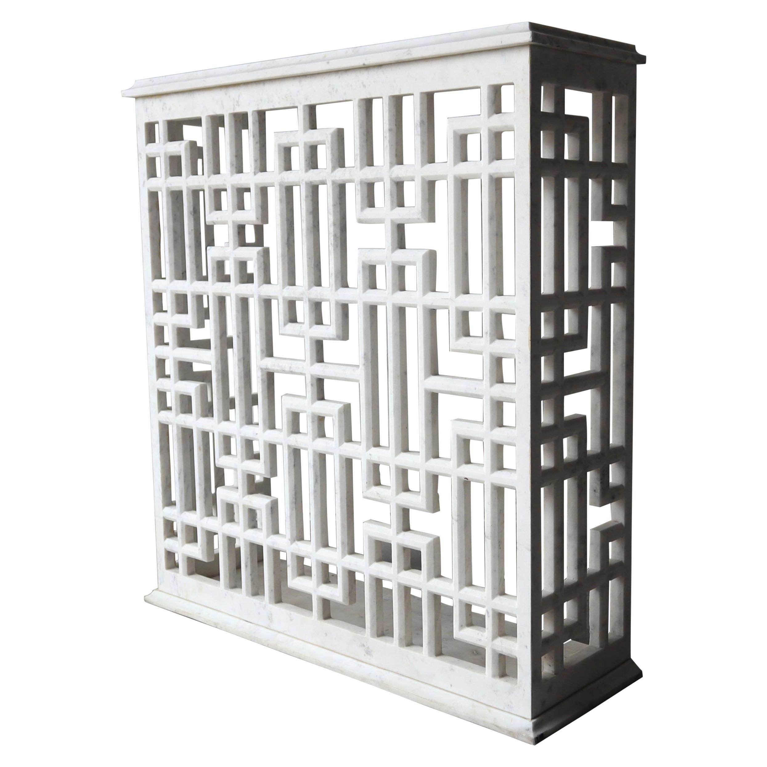 Carrara Marble Fretwork Entry Console Table