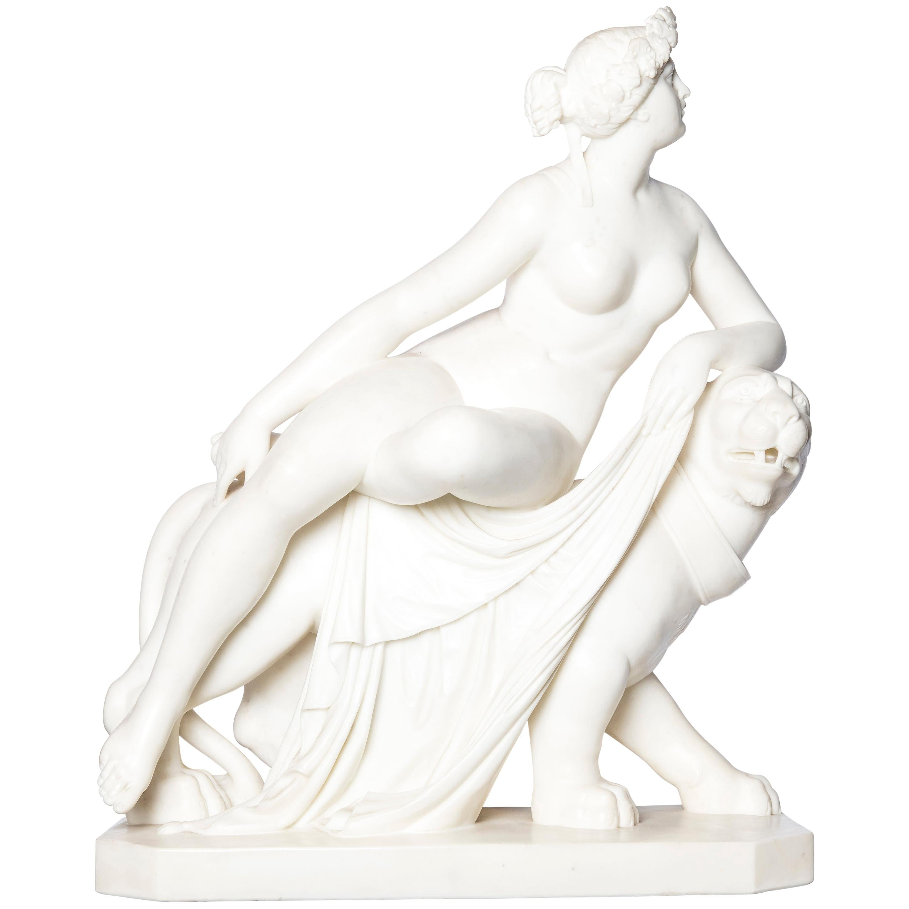 """Carrara Marble Sculpture """"Ariadne on the Panther"""" Signed A. Frilli, Firenze"""