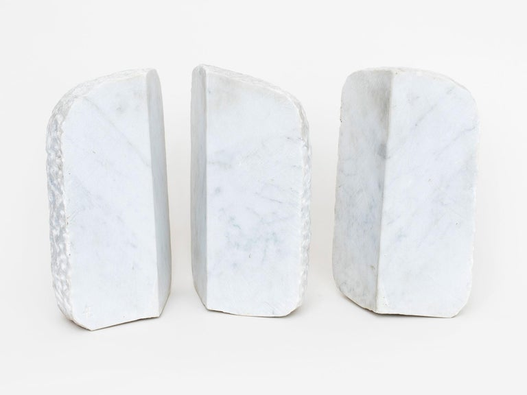 Carrara marble sculpture by Israeli-American artist Hanna Eshel (b. 1926). Hand carved in Carrara, Italy. Eshel is a multi-disciplinary artist best known for her work in carved marble, a skill she honed from 1972-1978 while living and practicing in