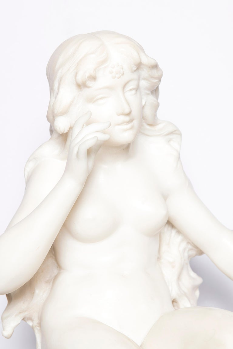 Carrara marble sculpture signed