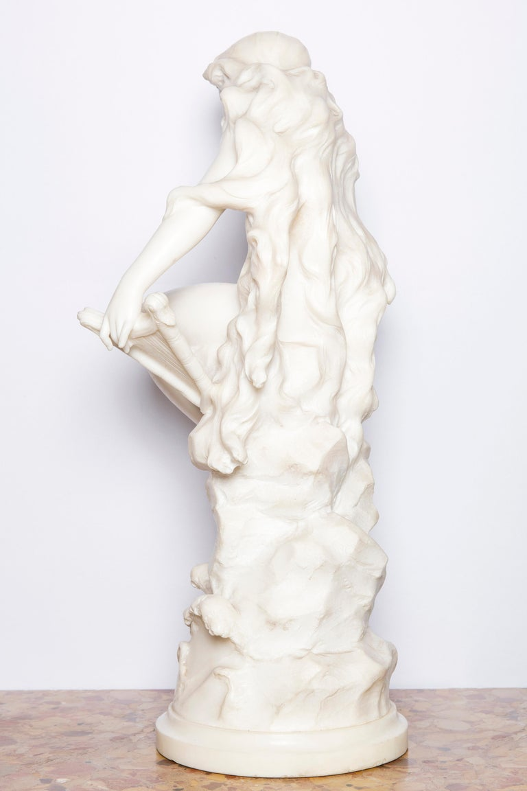 French Carrara Marble Sculpture Signed