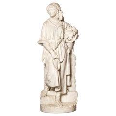 Carrara Marble Sculpture Signed Prof. Bastiani Firenze, Italy, circa 1890