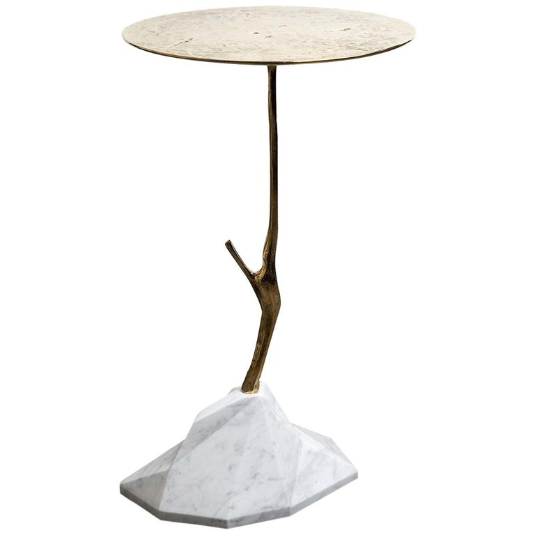 Carrara Marble Scultura Side Table For Sale