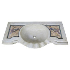 Carrara Marble Sink with Inlaid Stone Birds