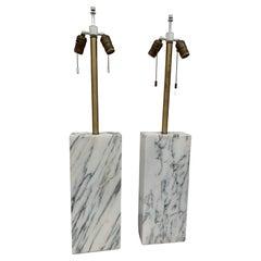 Carrara Marble Table Lamps by Elizabeth Kauffer