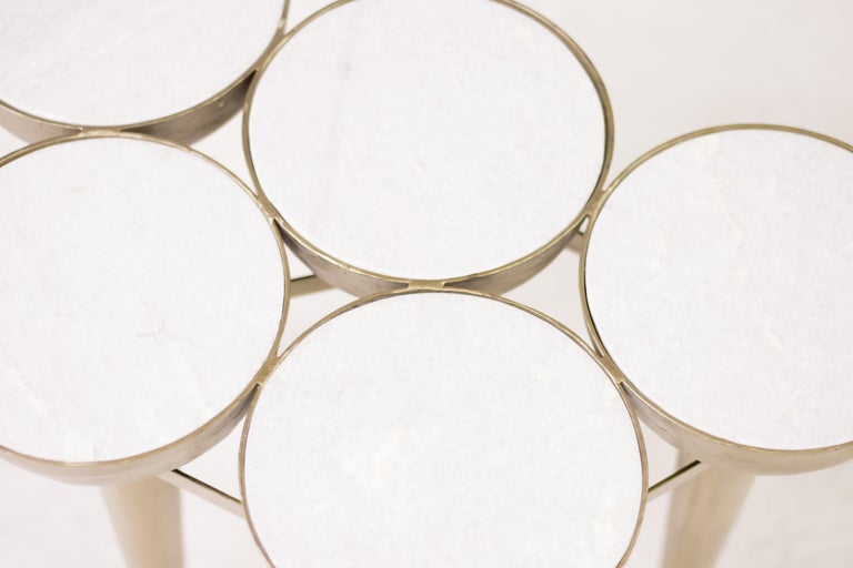 Art Nouveau Carrara Marble Torch Table For Sale
