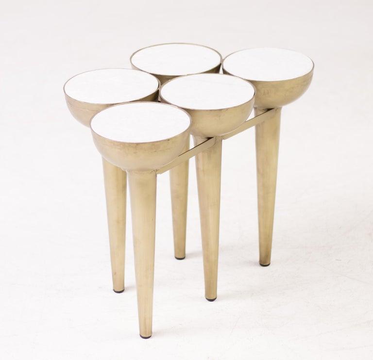 Italian Carrara Marble Torch Table For Sale