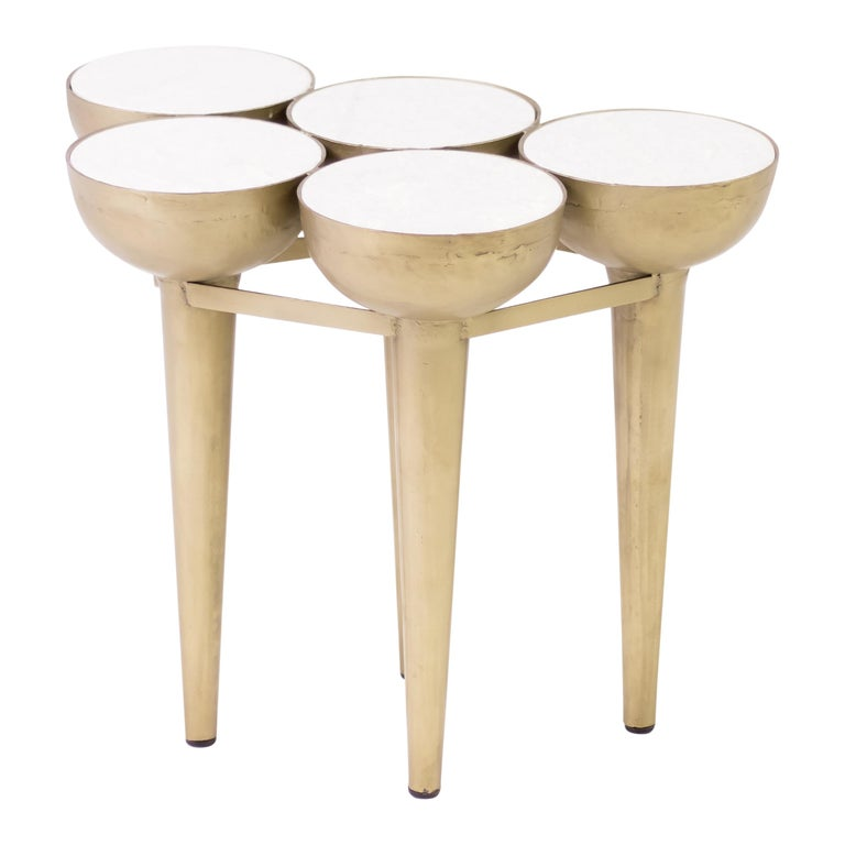 Carrara Marble Torch Table For Sale