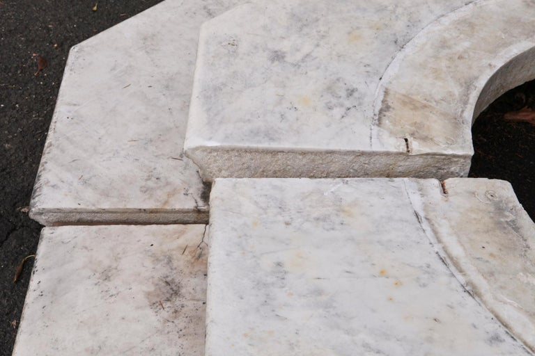 Carrara Marble Wellhead with Intricate Carvings Raised on Octagonal Base, 1920s For Sale 11