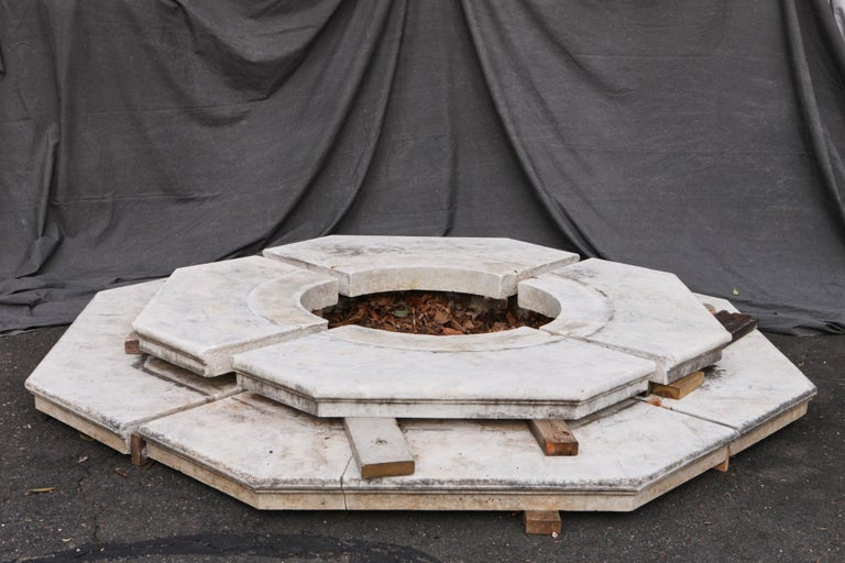 Italian Carrara Marble Wellhead with Intricate Carvings Raised on Octagonal Base, 1920s For Sale